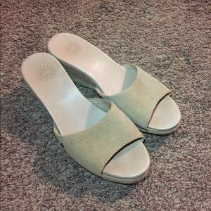 Ugg Nude Leather Sandals/Wedges
